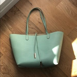 Steve Madden teal and gold reversible tote